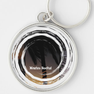 Palm Tree Collage; Mexico Souvenir Silver-Colored Round Keychain