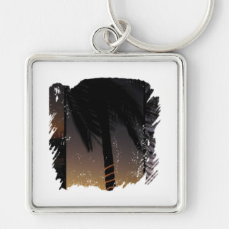 Palm Tree Collage Silver-Colored Square Keychain