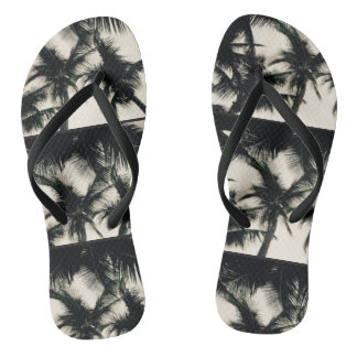 Palm Tree Design Slim Strap Flip Flops