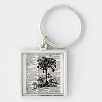 Palm Tree Dictionary Art Silver-Colored Square Keychain