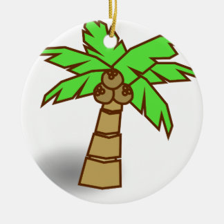 Palm Tree Drawing Ceramic Ornament