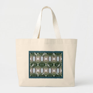Palm Tree & Egret Large Tote Bag