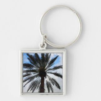 Palm Tree From Under 1 Silver-Colored Square Keychain