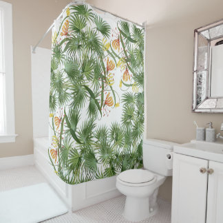 Palm Tree Fronds Glory Lily Flowers Shower Curtain