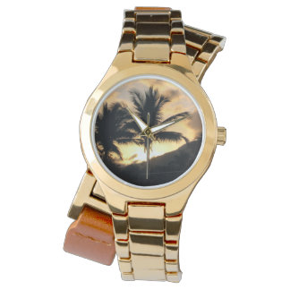 palm tree gold watch