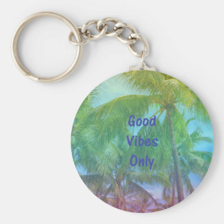 "Palm Tree ""Good Vibes Only"" Basic Round Button Keychain"