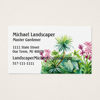 Palm tree, green, red leaves nature business card