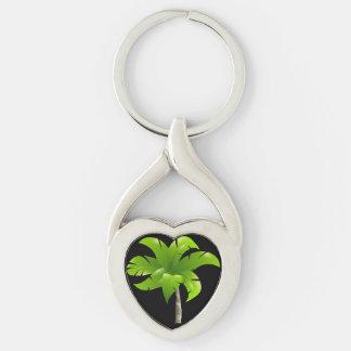 Palm Tree Heart Keychain