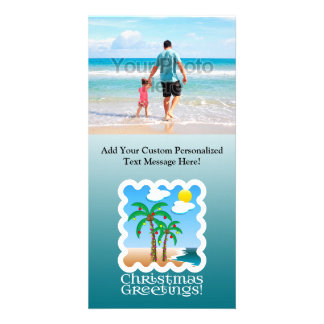 Palm Tree Holiday Lights Beach Christmas Picture Card