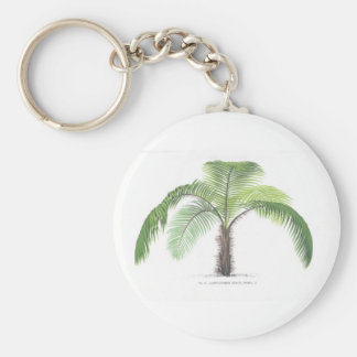 Palm tree illustration III Collection Basic Round Button Keychain