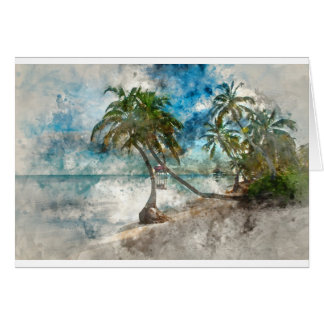 Palm Tree in Ambergris Caye Belize Card