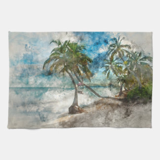 Palm Tree in Ambergris Caye Belize Kitchen Towel