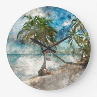 Palm Tree in Ambergris Caye Belize Large Clock