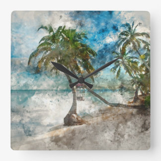 Palm Tree in Ambergris Caye Belize Square Wall Clock