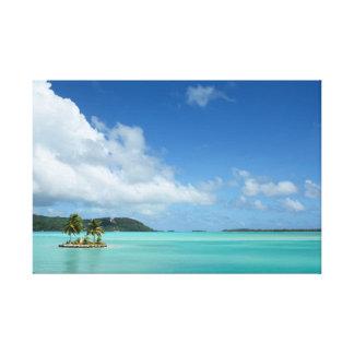 Palm tree in Bora Bora lagoon canvas print