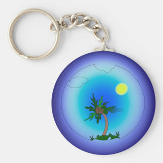 Palm tree in the sea basic round button keychain