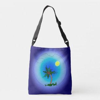 Palm tree in the sea crossbody bag