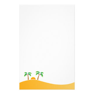 Palm tree island or desert sunrise stationery