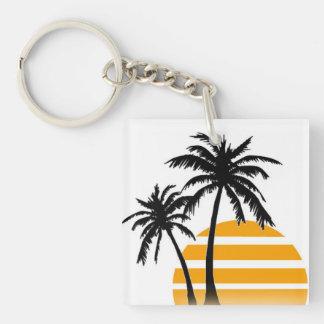 Palm tree key chain square acrylic key chains
