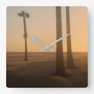 Palm Tree Landscape in Fog Square Wall Clock