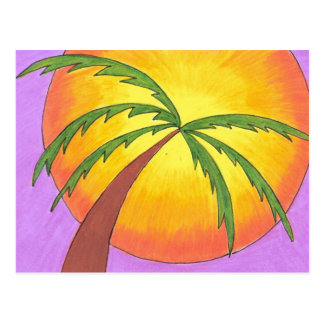 """""""Palm Tree Leaning into the Sunset"""" Postcard"""