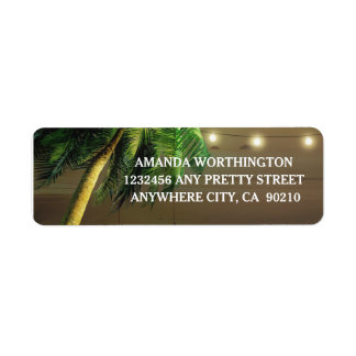 Palm Tree Lights Beach Wedding Address Labels