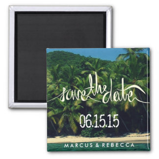 Palm Tree Lined Beach Save Date Wedding Magnet