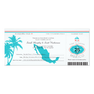 "Palm Tree Mexico Boarding Pass Wedding 4"" X 9.25"" Invitation Card"