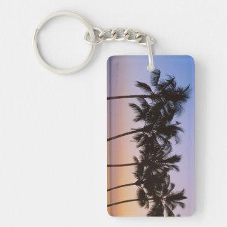 Palm tree, morning Double-Sided rectangular acrylic keychain