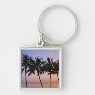 Palm tree, morning Silver-Colored square keychain