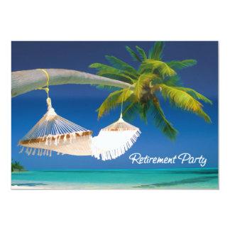 "Palm Tree, Ocean & Hammock Retirement Party 5"" X 7"" Invitation Card"