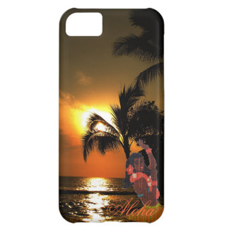 Palm Tree Ocean Sunset with Grass Skirt Hula Girl Cover For iPhone 5C