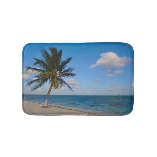Palm Tree on a Beach Bathroom Mat