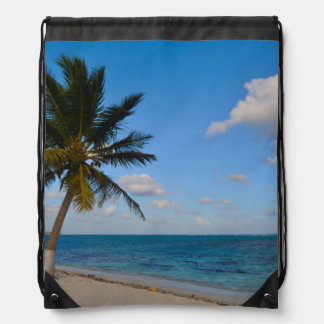 Palm Tree on a Beach Drawstring Bag