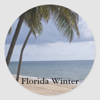 Palm tree on beach Florida Winter Round Sticker