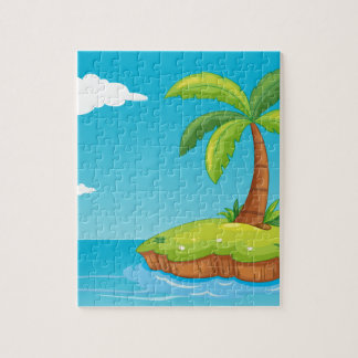 palm tree on island jigsaw puzzle