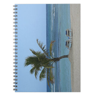 Palm Tree on the Beach Spiral Note Books