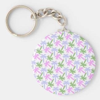 palm tree pattern basic round button keychain