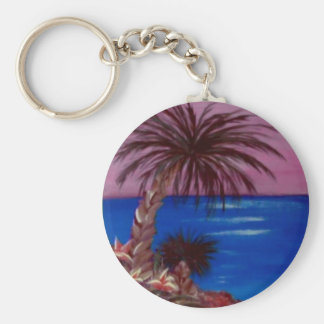 Palm Tree Pink Skies by ruby dubin Keychains