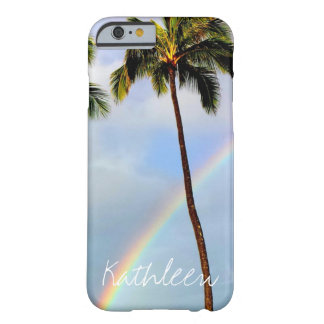 Palm tree rainbow travel photo custom name persona barely there iPhone 6 case
