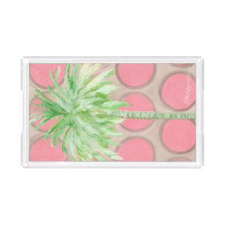 Palm Tree Rectangle Tray- Pretty Pink Polka Dots Acrylic Tray