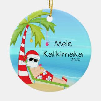 Palm Tree Relaxing Santa Hawaiian Christmas Ceramic Ornament