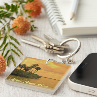 Palm Tree Reverie Personalized Double-Sided Square Acrylic Keychain
