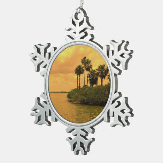 Palm Tree Reverie Pewter Snowflake Ornament