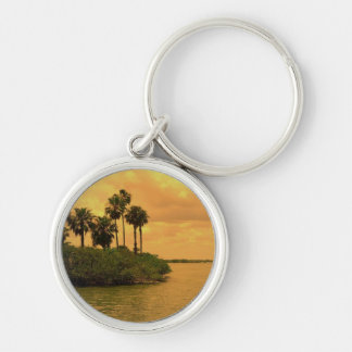 Palm Tree Reverie Silver-Colored Round Keychain