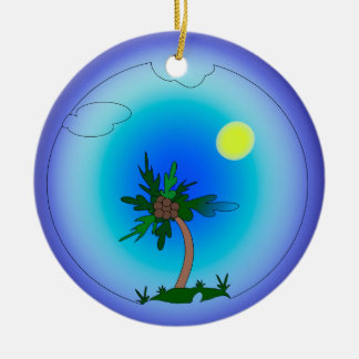 palm tree round ceramic ornament