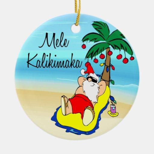 Palm Tree Santa Hawaiian Christmas Ornament