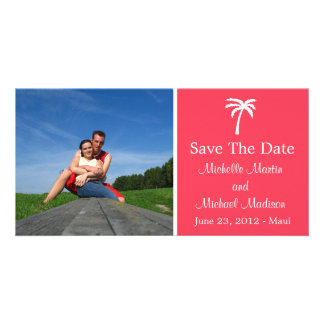 Palm Tree Save The Date Photocard (Coral) Customized Photo Card