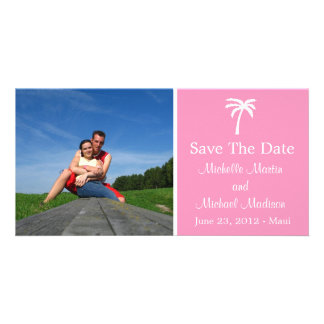 Palm Tree Save The Date Photocard (Light Pink) Photo Greeting Card