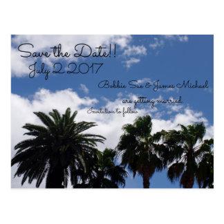 Palm Tree Save The Date Postcard
